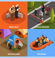 isometric refugees design concept vector image vector image