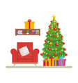 livingroom with christmas decoration scene vector image