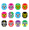 Lucha Libre luchador pixelated Mexican wrestling vector image vector image