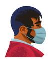 man wears medical mask virus and disease vector image