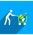Medical Shopping Cart Flat Square Icon with Long vector image vector image