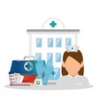 nurse with medical equipment vector image vector image