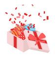 open gift box icon isometric style vector image vector image