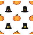 orange pumpkin and black witch hat halloween vector image