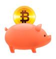 piggy bank icon golden bitcoin coin vector image vector image