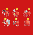 piggy bank of chinese zodiac icon vector image vector image