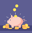 piggy bank with golden coins save money deposit vector image vector image