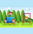 playground scene with lots of kids vector image vector image