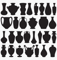 pottery vase silhouettes vector image