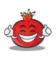 proud face pomegranate cartoon character style vector image vector image