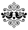 scandinavian floral folk art design cute vector image vector image