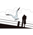 Seagull flying over Loving couple vector image