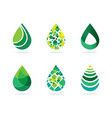 set of abstract green water drops symbol water dr vector image