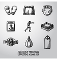 Set of boxing hand drawn icons - gloves shorts vector image