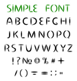 Simple font Uppercase letters with sharp ends vector image