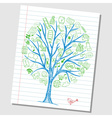 Social media doodle icons on tree vector image vector image