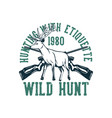 t shirt design hunting with etiquette wild hunt vector image