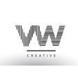 vw v w black and white lines letter logo design vector image