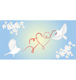 Two birds fly and carry in its beak decorative hea vector image
