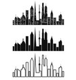 black cityscape icons set vector image