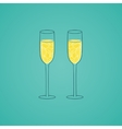 Champagne glass with abstract doodle pattern vector image