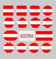 austria flag collection figure icons set vector image vector image