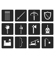 Black medieval arms and objects icons vector image vector image