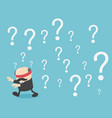 blindfolded businessman walking of question marks vector image