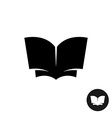 Book open simple black silhouette icon vector image vector image