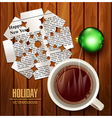 Christmas background with snowflake cut from newsp vector image