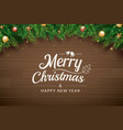 christmas greeting card with fir branch on brown vector image vector image