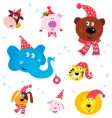 Christmas party animals vector image