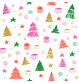 christmas tree seamless pattern hand drawn vector image