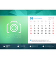 Desk Calendar Template for 2017 Year September vector image vector image