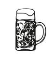 dimpled oktoberfest glass beer mug hand drawn vector image vector image