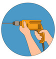 drill in male hand flat vector image
