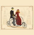 england couple of cyclists on bicycle vector image vector image