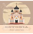 Estonia landmarks Retro styled image vector image