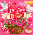 eternal love save date desserts and flowers vector image
