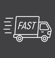 fast shipping line icon delivery truck vector image vector image