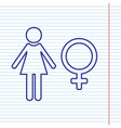 female sign navy line icon vector image vector image
