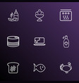 food icons line style set with oven mustard vector image