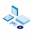 game console set joystick cd and cd case isometric vector image vector image