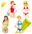 girls on the beach set vector image