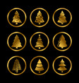 gold silhouette christmas trees icons on vector image