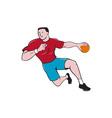 Handball Player Throwing Ball Cartoon vector image