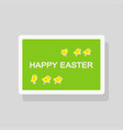 happy easter greeting card with chickens on green vector image vector image