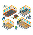 isometric school interior building with various vector image vector image