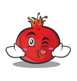 kissing face pomegranate cartoon character style vector image vector image