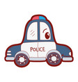 line color kawaii happy police car transport vector image